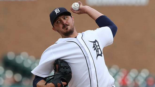 Detroit Tigers starting pitcher Blaine Hardy throws during the first inning of the team's baseball game against the Oakland Athletics, Tuesday, June 26, 2018, in Detroit.