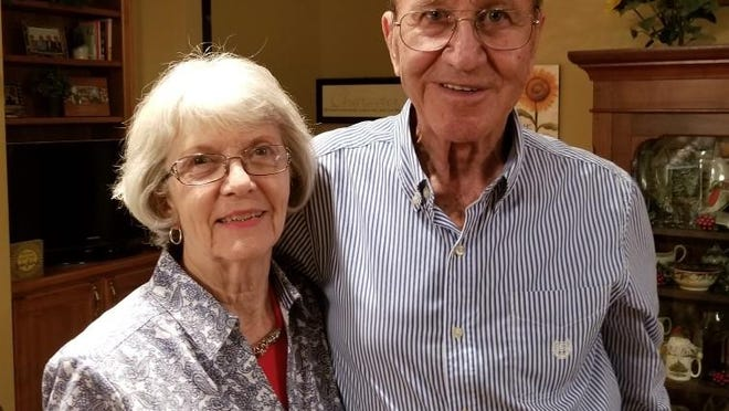 Salina native Kaye Pearce, longtime distinguished coach and athletics administrator seen here with his wife, Barbara, in June 2019, died last Sunday at age 85.