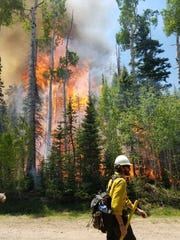 A wildland firefighter is pictured in front of the burning Brian Head fire.