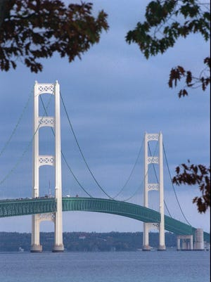 The Mackinac Bridge, shown in this Oct. 1997 file photo.
