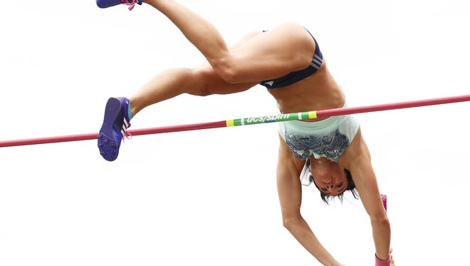 Jennifer Suhr clears the bar on her way to winning the pole vault at the U.S. track and field championships in Eugene, Oregon on June 28, 2015.