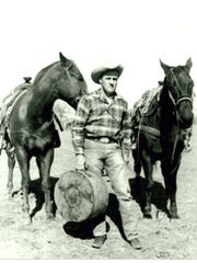 Porter in 1959, shortly before leaving for the National Rodeo Finals in Dallas, Tx.  Porter would be named National Calf Roping Champion.  Photo courtesy of Judy Porter Weisgerber.