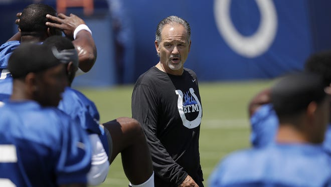 FILE -- Indianapolis Colts head coach Chuck Pagano during drills on the first day of practice at the Indianapolis Colts NFL training camp Tuesday, July 27, 2016, morning at Anderson University in Anderson IN.