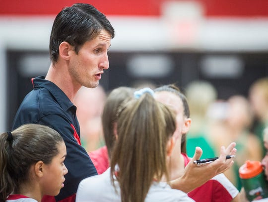 Jared Richardson, shown here coaching his team during a match against Yorktown in the fall, resigned from the Wapahani job after the season.