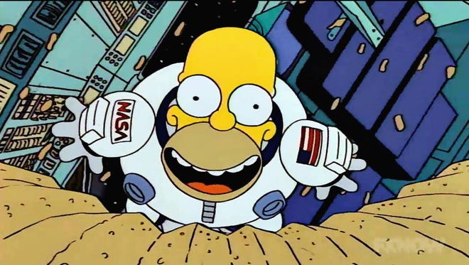 Homer goes on a zero-gravity potato chip binge in Season 5, one of the 550-plus episodes available on SimpsonsWorld.com