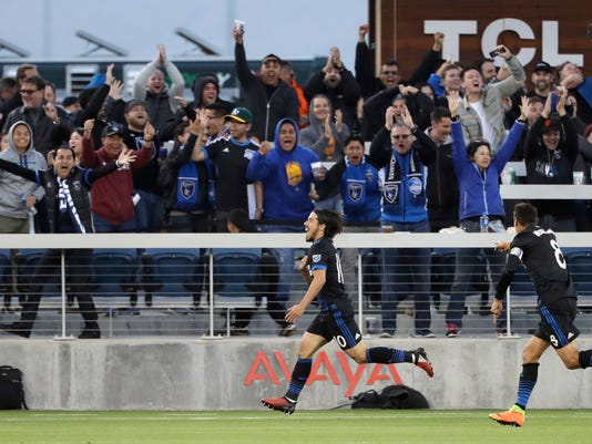 San Jose Earthquakes midfielder Jahmir Hyka, center, celebrates his goal against the Portland Timbers during the first half of an MLS soccer match Saturday, May 6, 2017, in San Jose, Calif. (AP Photo/Marcio Jose Sanchez)