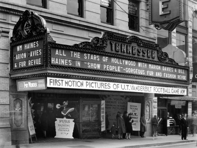 The Tennessee Theatre marquee advertises the 1928 film