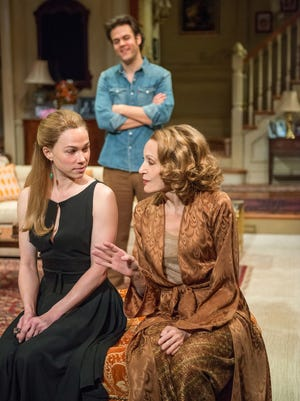 """From left, Kristen Bush, Michael Simpson and Jan Maxwell are shown in a scene from """"The City of Conversation,"""" a new play by Anthony Giardina performing off-Broadway at the Mitzi E. Newhouse Theater."""