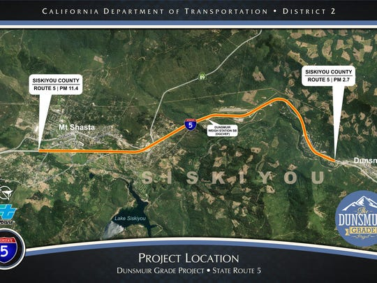 This map shows the area of a construction project on northbound Interstate 5 near Mount Shasta.