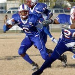 Jacoby Jones runs with the ball for Lane College during a 2006 game.