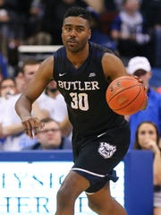 Butler Bulldogs forward Kelan Martin (30) dribbles during the first half against the Seton Hall Pirates at Prudential Center.