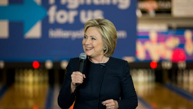 Democratic presidential candidate Hillary Clinton speaks at a campaign event at Adel Family Fun Center Wednesday, Jan. 27, 2016, in Adel, Iowa.