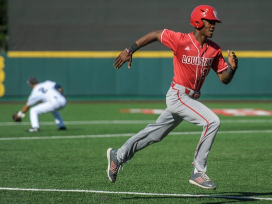 UL outfielder Jam Williams heads home with the eventual
