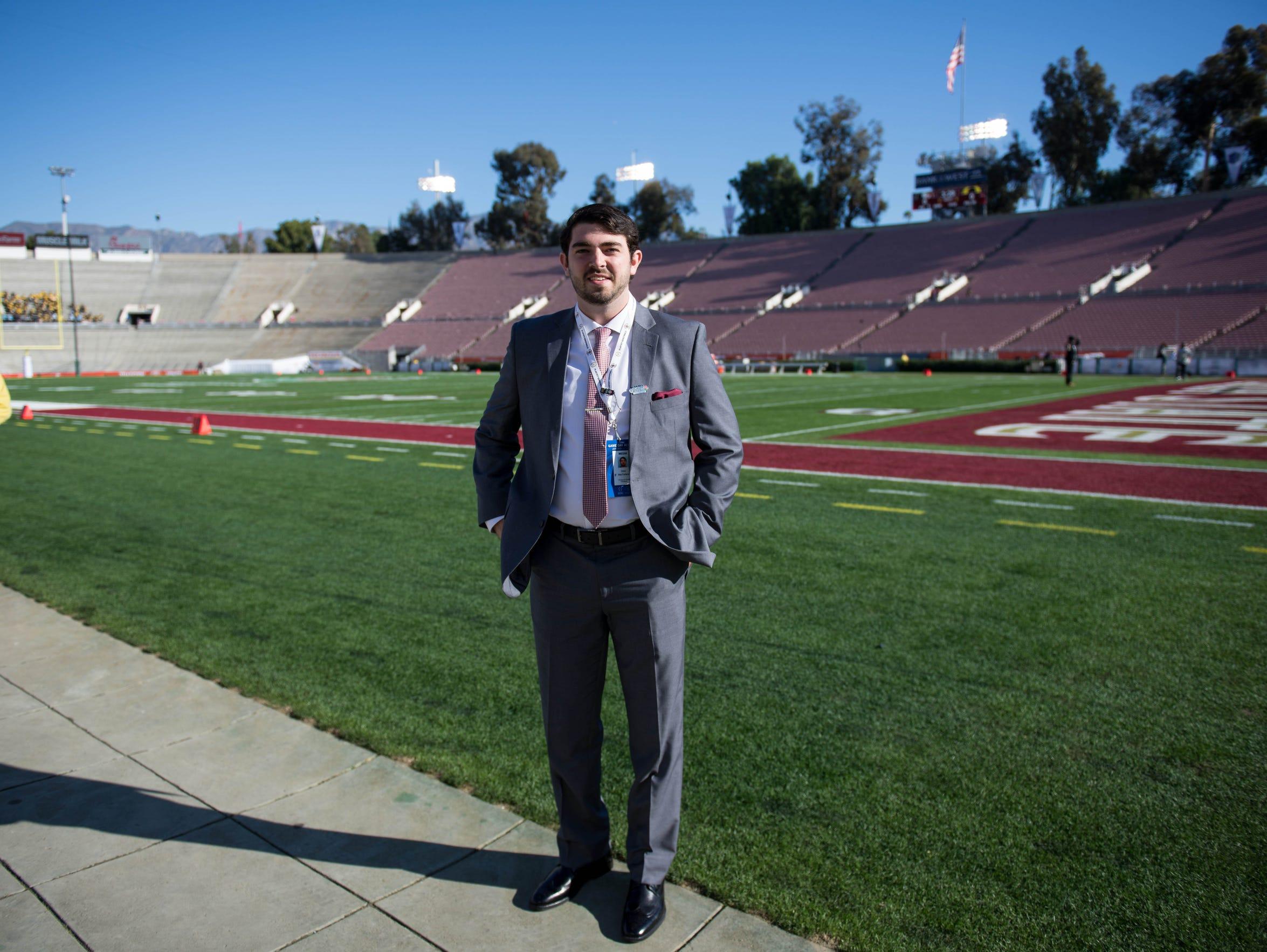 Drew MacFarlane poses at the Rose Bowl in Pasadena.