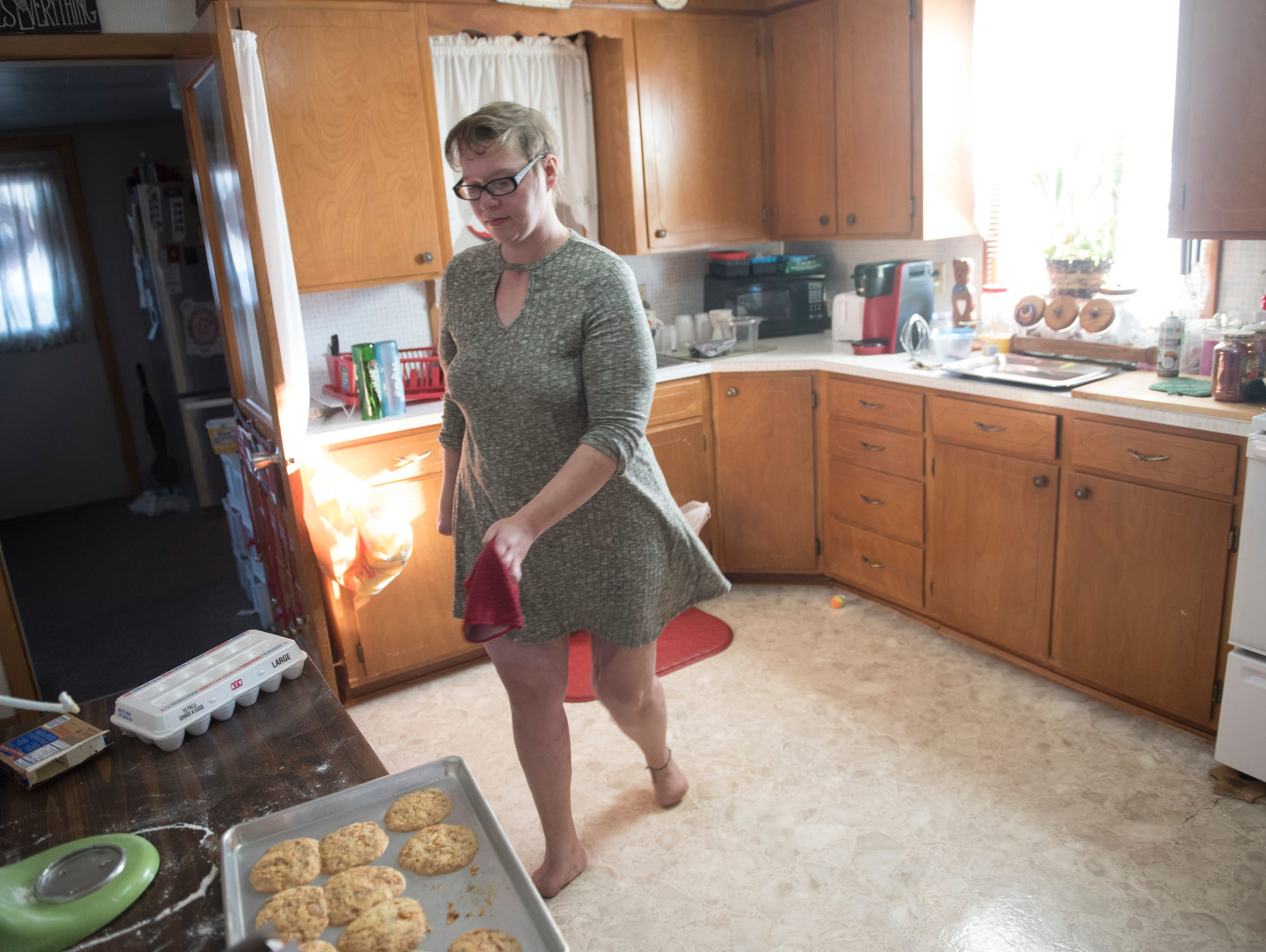 Natasha Dillow gets holiday baking done at her home