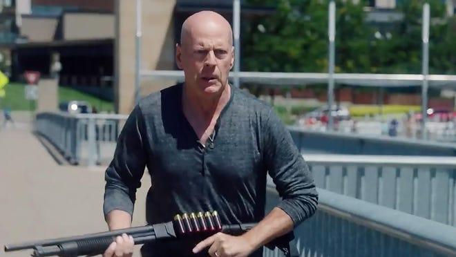 "Bruce Willis is a retired cop out to find a bank robber in ""Reprisal."""