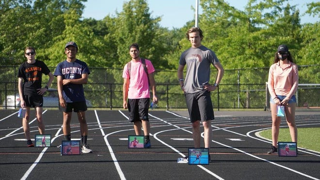 Seniors on the Gardner High boys' and girls' outdoor track and field teams were honored by the GHS Track/Cross Country Booster Club, coaches and family members on Thursday, June 18, 2020. Pictured from left to right are Hunter Graves, Alex Lopez, Javian Colon, Nick Smothers and Janet Herrera.