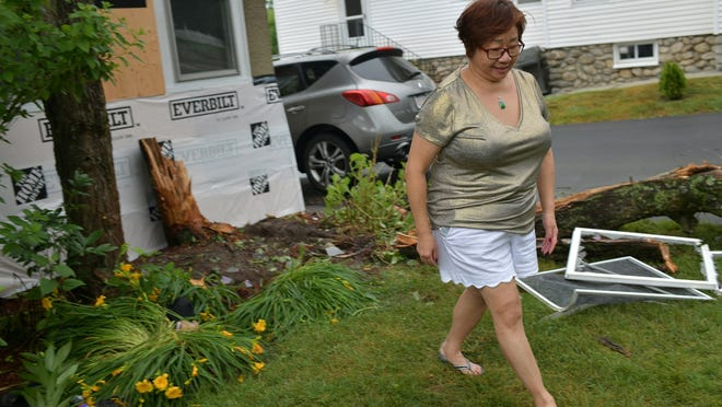 WORCESTER - A driver crashed a car into a house and tree at 994 Pleasant St. around 10 p.m. Monday. Homeowner Grace Onanian, pictured Tuesday, was sitting right in front of the windows when she and her husband, Mark, heard the bang. The tree that stopped the car had been slated for removal, but the tree workers hadn't come.