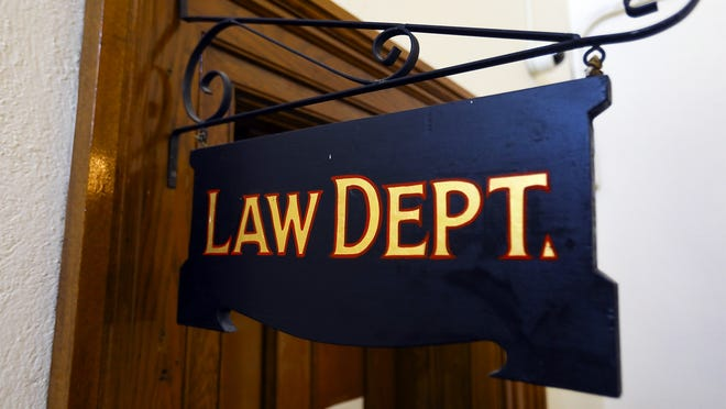 The Brockton Law Department office sign inside City Hall, pictured Monday, July 27, 2020.