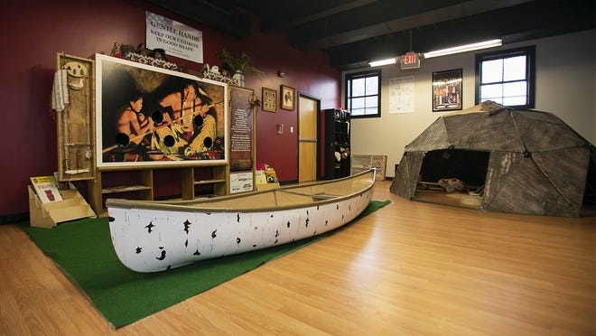 A Native American exhibit is one of the interactive, educational historic aspects of the Stay 'N Play Children's Museum at The Drop Spot location on Perkins Street in Bridgewater, pictured on Thursday, Aug. 27, 2020.
