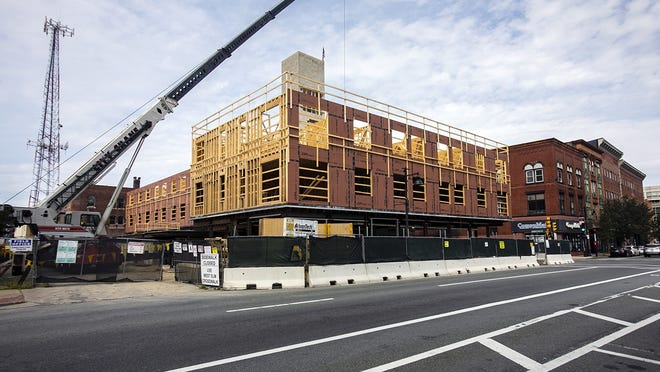 Brockton Beer Company said it is working with NeighborWorks Housing Solutions to potentially moving into the first floor of the five-story apartment building it's constructing at the site of the former Kresge department store building, 121 Main St., in downtown Brockton, photographed on Wednesday, Sept. 9, 2020.