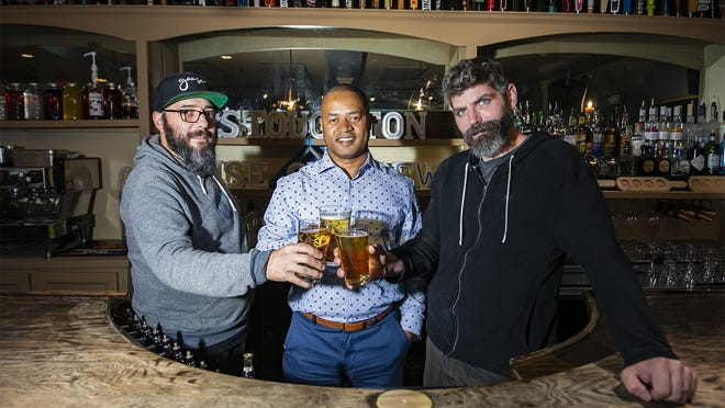 Stoughton House of Brews' new executive chef Rick Gallego, owner Greg Morgan and general manager Stephen Dray, photographed on Wednesday, Sept. 2, 2020, are excited to reopen the downtown pub with a fresh look and a new menu.