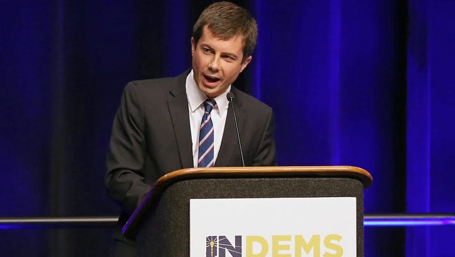 Pete Buttigieg, mayor of South Bend, Ind., addresses the audience during the 2016 Indiana Democratic state convention at the Indiana Convention Center, Indianapolis, Saturday, June 18, 2016.