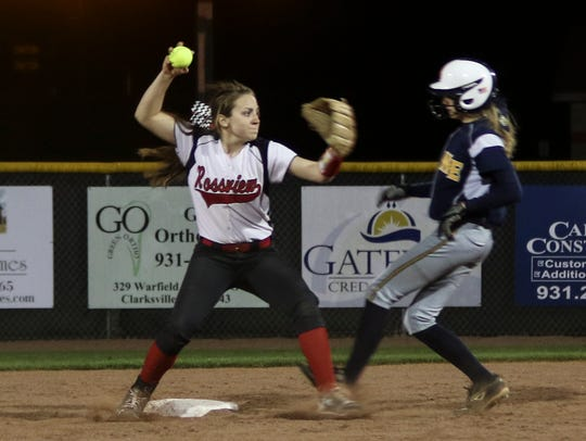 Rossview's Bianca Guarino (15) throws the ball to first