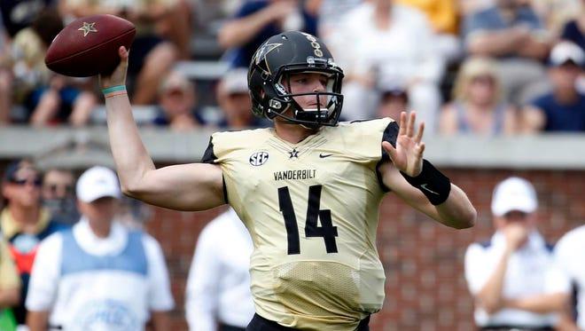 Vanderbilt quarterback Kyle Shurmur has a 5-7 overall record and 3-5 SEC mark.
