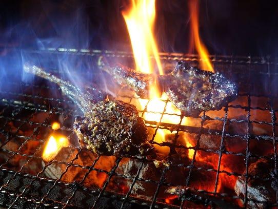 Kohitsuji misoyaki, miso-marinted lamb on the grill,