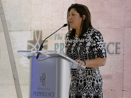 """Sally Hurt-Deitch, Sierra Providence Network CEO announces the name change of the Sierra Providence Health Network and is now """"The Hospitals of Providence."""""""