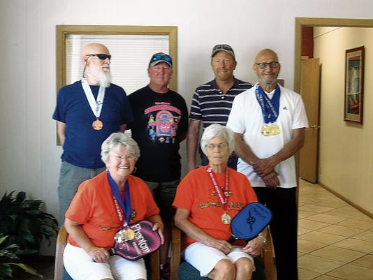 Photo courtesy of Tina Swindell Local Senior Olympians took part in event last weekend in Roswell. Back row, left to right: John Berry, J.C. Carter, Craig Barrick, Domingo Armendariz. Front row, left to right: Sue Brazeal, Mary Hughes.