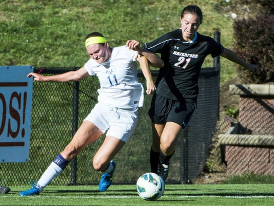 Lebanon Valley College junior Sammy Bost battles Haverford's Katie Safter during the Dutchmen's first loss of the season Wednesday, a 2-1 defeat at Herbert Field.