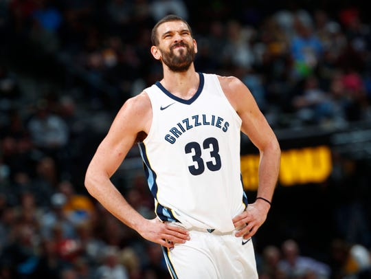 Memphis Grizzlies center Marc Gasol, of Spain, reacts