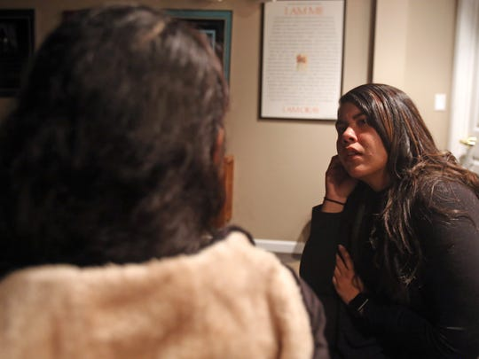 Dariela Vasquez, right, translates for Milagros who fled Guatemala to escape domestic violence, only to find herself being forced into sex and domestic work. Photographed at the Center for Safety and Change in New City Jan. 11, 2018.