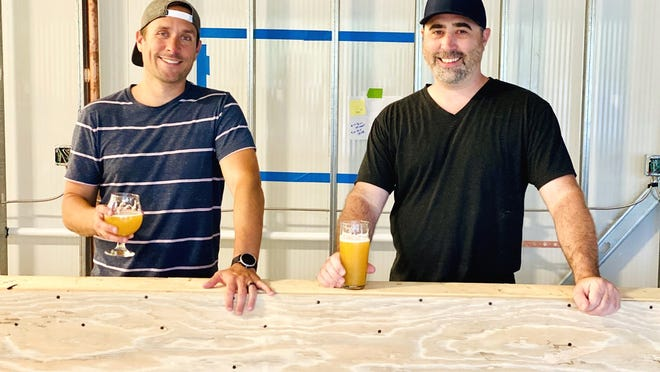 Sterling Street Brewery co-owners, business partners and longtime friends Jesse Tarbell (left) and Brian Mason at the coming soon brewery.