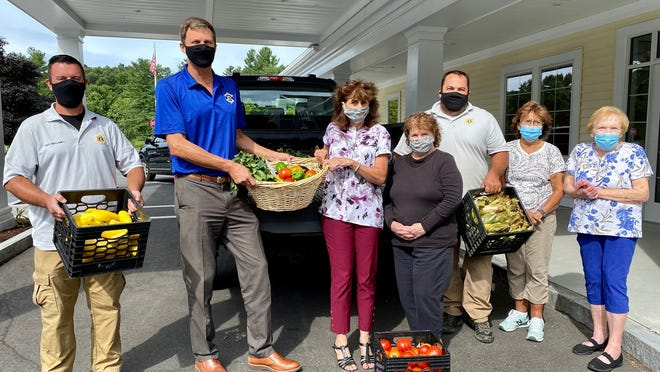 Over 100 pounds of fresh organic produce grown at the jail farm in West Boylston were donated and delivered to the West Boylston Senior Center by Sheriff Evangelidis and staff on Wednesday, Aug. 26. Shown (from left) are: WCSO Officer Shaun Mullaney, Sheriff Evangelidis, West Boylston Senior Center Director Lisa Clark Viklund, Volunteer Marty Adams, WCSO Farming Director John Travaglio, Volunteer Sandy Flynn and Dining Manager Doris Johnson.