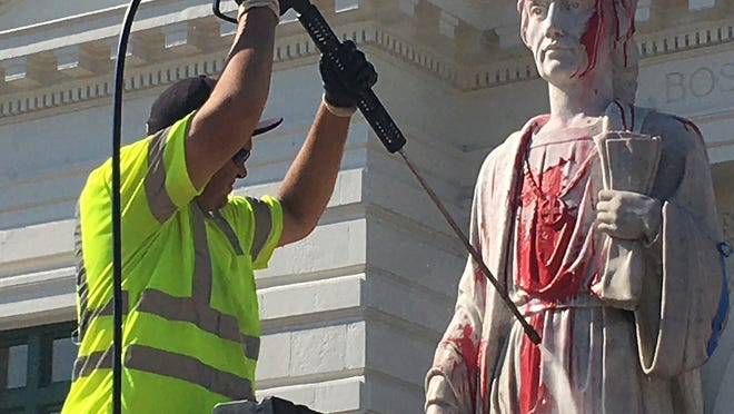 The statue of Christopher Columbus that stands in front of Union Station in Worcester was vandalized early June 23.