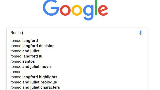 Two Romeo Langford-related predictive texts now top a search for 'Romeo' on Google.