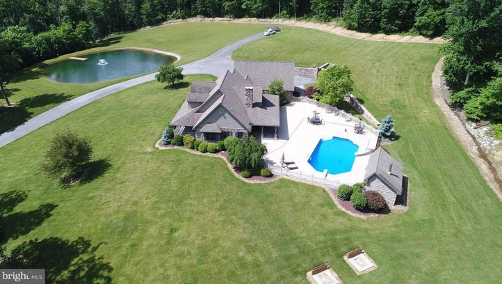 An aerial view of 4697 Charlestown Road, Mercersburg.
