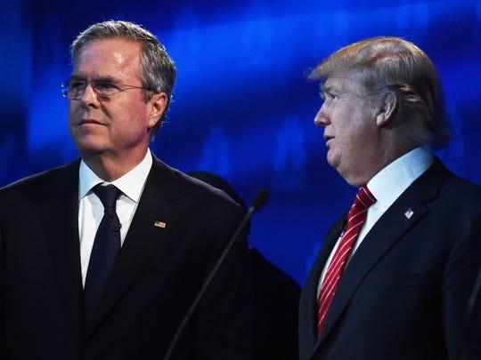 Jeb Bush and Donald Trump at the Oct. 28, 2015, GOP