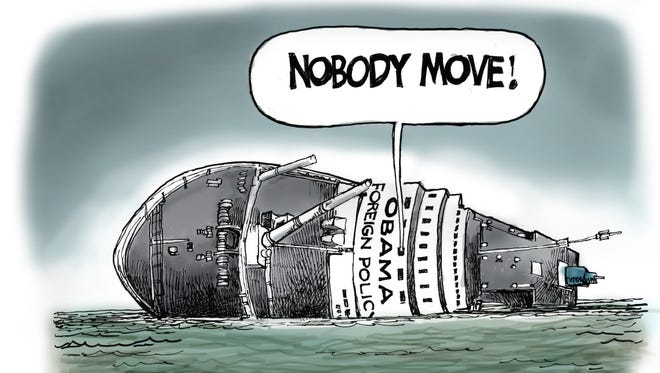 Steve Benson illustrates Pres. Obama's recent foreign policy difficulties.