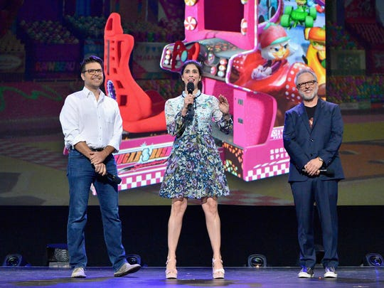 Director Phil Johnston, from left, actor Sarah Silverman and director Rich Moore of 'Ralph Breaks the Internet: Wreck-It Ralph 2' took part today in the Walt Disney Studios live action/animation presentation at Disney's D23 EXPO 2017. 'Ralph Breaks the Internet: Wreck-It Ralph 2' will be released in U.S. theaters on November 21, 2018.