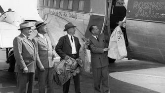 Airmail service out of Teterboro, 1948. Left to right, Edward Heil, oAssistant Regional Superintendent, U.S. Post Office, Fred Wehran, owner of Teterboro Airport, Charles Orth, Postmaster of Hackensack, C.S. Robinson, President of Robinson Airlines.