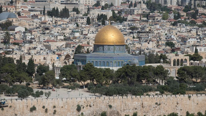 A view of the Al-Aqsa compound (Temple Mount) in Jerusalem's Old City on July 14, 2017. The rock over which the shrine was built is sacred to both Muslims and Jews and the Al-Aqsa Mosque is the third holiest site in the world in Islam. According to media reports on Dec. 5 2017 state that US President Donald J. Trump has informed Palestinian leader Mahmoud Abbas that he intends to relocate the US embassy from Tel Aviv to Jerusalem.