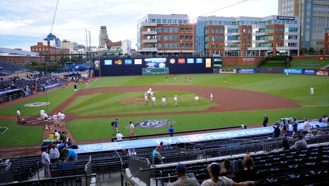 Sep 18, 2012: The grounds crew prepares the field for the match-up between the Pawtucket Red Sox and the Reno Aces in the 2012 Gildan Triple-A National Championship Game at the Durham Bulls Athletic Park.