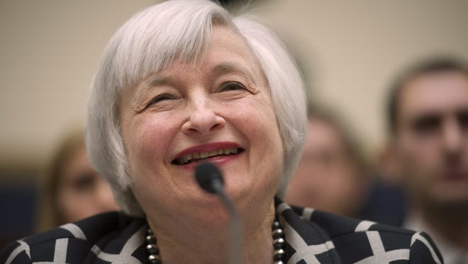 Federal Reserve Chair Janet Yellen testifies on Tuesday before the House Financial Services Committee hearing.