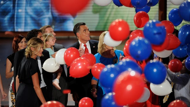 Balloons are released at the Republican National Convention in Tampa on Aug. 30, 2012.