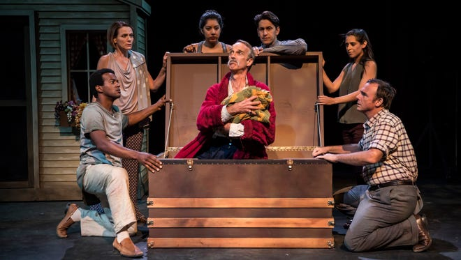 "James Ridge (center) plays the elder incarnation of the title character in ""Pericles, King of Tyre,"" performed by American Players Theatre in Spring Green."
