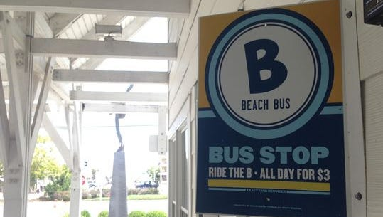 The Ocean City Beach Bus runs up and down the Coastal Highway.